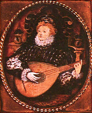 Queen Elizabeth I playing a lute